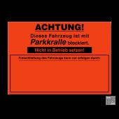 Falschparker-Warnplaketten Parkkralle, Haftpapier