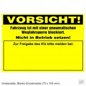 Warnplaketten Ventilwächter Neongelb, Haftpapier