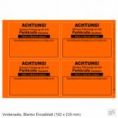 Falschparker-Warnplaketten Parkkralle Neonorange, Haftpapier