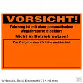 Warnplaketten Ventilwächter Neonorange, Haftpapier